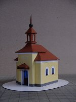 Papercraft building imprimible y armable de la Iglesia de Stržanov, en la República Checa. Manualidades a Raudales.