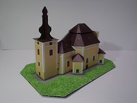 Papercraft imprimible de la Iglesia de peregrinación de la Visitación / Poutní kostel Navštívení Panny Marie v Obyčtově. Manualidades a Raudales.