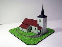 Maqueta 3D imprimible y armable de la Iglesia Filial de Giles Baja Borech / Filiální kostel sv. Jiljí v Dolních Borech. Manualidades a Raudales.