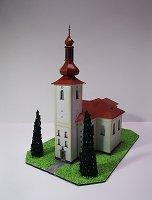 Maqueta 3D recortable y armable de la Iglesia de St. Lawrence en Bohdalov / Kostel sv. Vavřince v Bohdalově. Manualidades a Raudales.