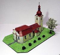 Maqueta 3D recortable y armable de la Iglesia de San Pedro y San Pablo, en la República Checa. Manualidades a Raudales.
