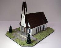 Maqueta 3D recortable y armable de la capilla de Nuestra Señora de las Nieves, en Budec. Manualidades a Raudales.